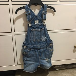 Baby Gap denim overall shorts